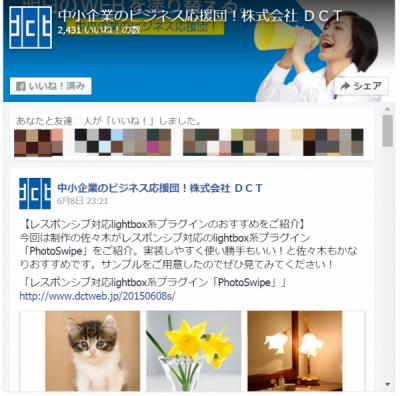 カバー写真+Faceook投稿ありPage Plugin